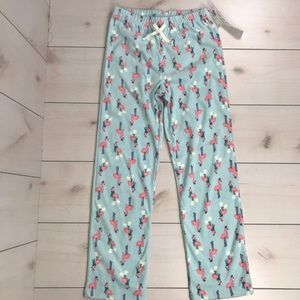 NWT Old Navy Blue Fleece Flamingo Sleep Pants 14